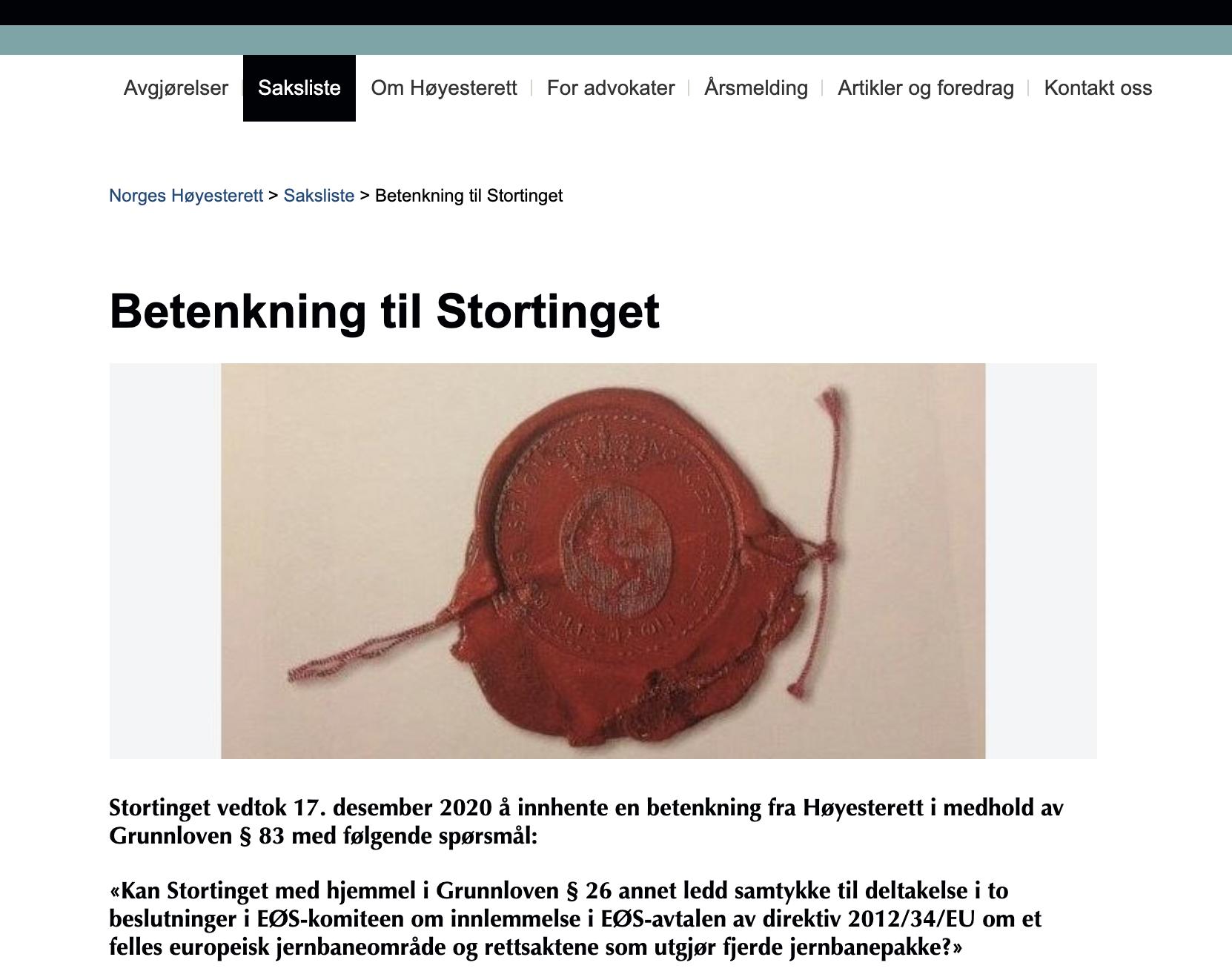 Betenkning fra Høyesterett - Høyesteretts konstitusjonelle kattepine