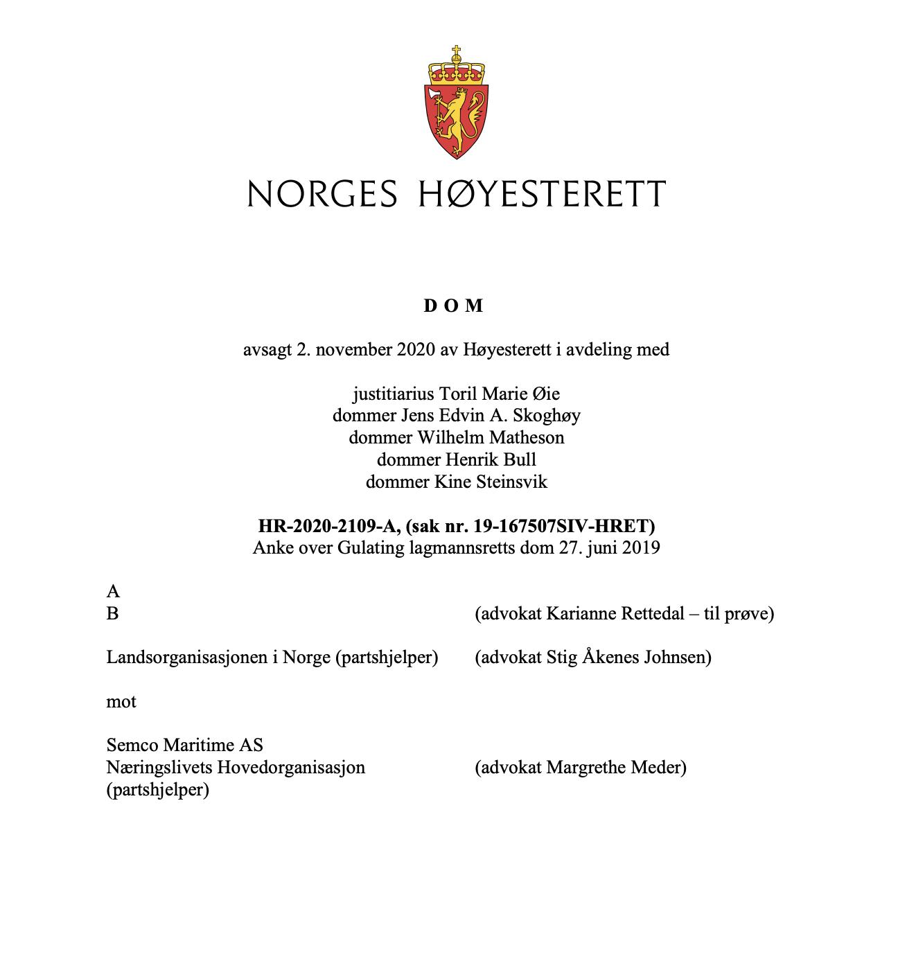 Kommentar til Høyesteretts dom HR-2020-2109-A om bonus til innleide arbeidstakere («Semco-saken»)