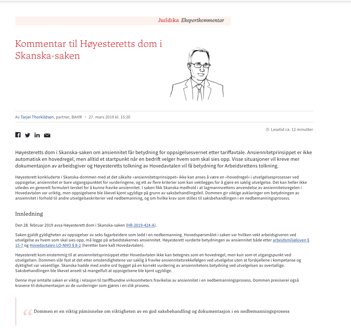 Tarjei Thorkildsens kommentar til Telenor-dommen HR-2019-1986-A