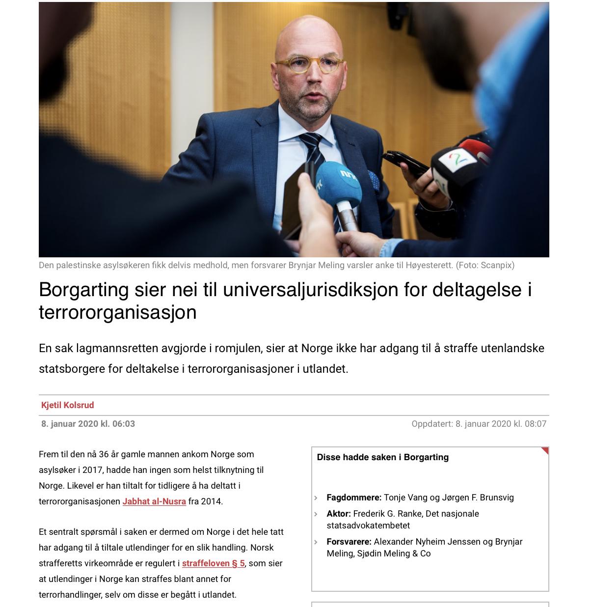 Kommentar til dom HR-2020-1340-A «Fremmedkrigersaken»